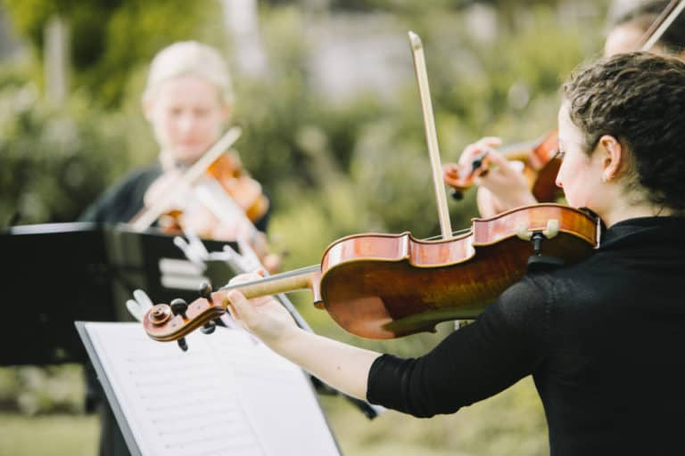 Violins in the Gardens at Flanesford Weddings