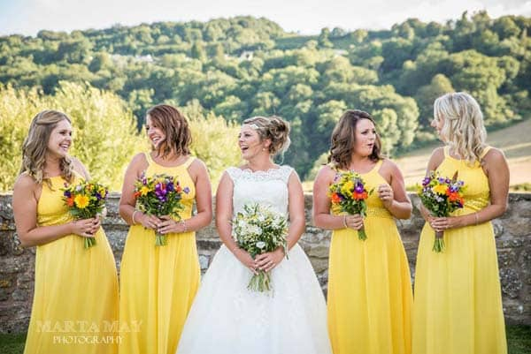Bride and Bridesmaids at Flanesford Weddings