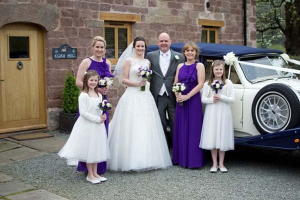 Bride and Bridal Party at Flanesford Weddings